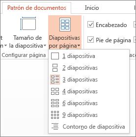 Opciones de Diapositivas por página