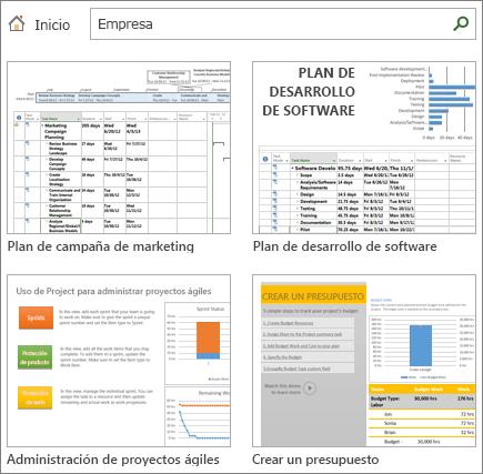 Captura de pantalla de plantillas de plan de proyecto en la categoría Empresa.