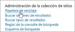 Configuración del encabezado de administrador de colección de sitios con Reciclar resaltado