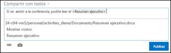Dirección URL en una publicación de suministro de noticias con formato de texto para mostrar