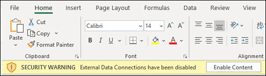 Las conexiones de datos externos se han deshabilitado: active Habilitar contenido para habilitar.