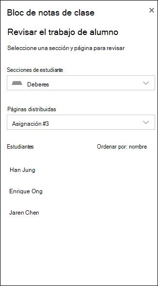 Captura de pantalla de ejemplo de opciones para revisar el trabajo de estudiante