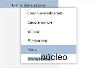 Una captura de pantalla del menú contextual de carpetas con seleccionados