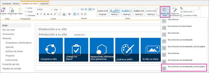 Una imagen que muestra cómo elegir el diseño del texto para el diseño de la página principal.