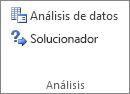 Botón Análisis de datos en el grupo Análisis de datos