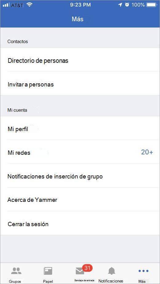 Página de Yammer de iOS que muestra más opciones