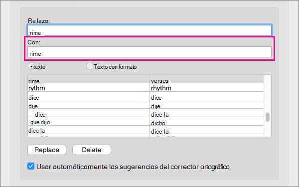 Seleccione un elemento de la lista Autocorrección para cambiar su texto de sustitución en el cuadro Con.