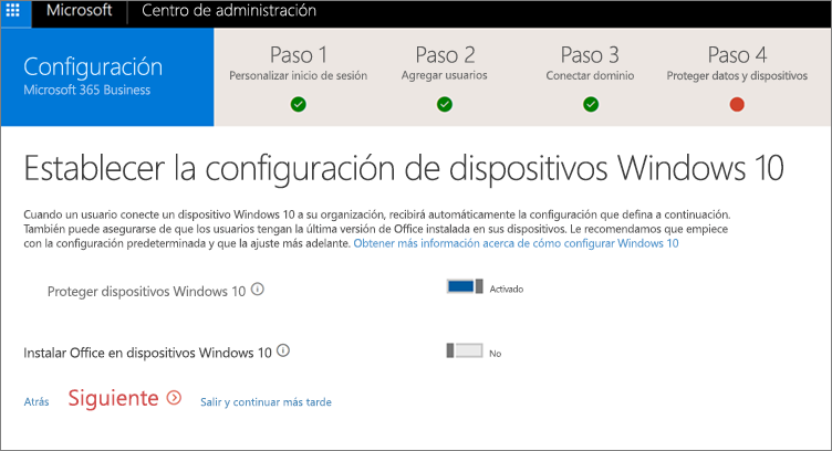 Captura de pantalla de la página Preparar dispositivos Windows 10