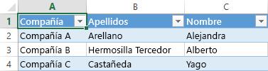 Hoja de cálculo de Excel que muestra tres registros de los datos en tres columnas