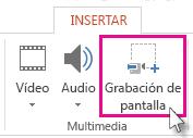 Insertar > Grabación de pantalla