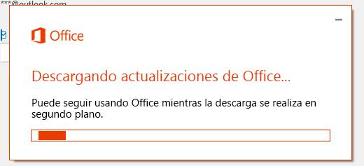 Cuadro de diálogo de descarga de actualizaciones de Office