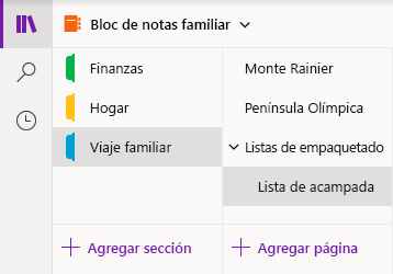 Interfaz de navegación en OneNote para Windows 10