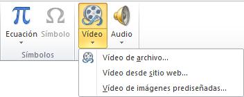 Botón de la cinta de opciones para insertar un vídeo en línea en PowerPoint 2010