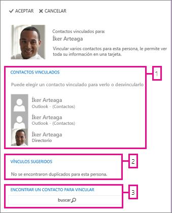página de contactos vinculados