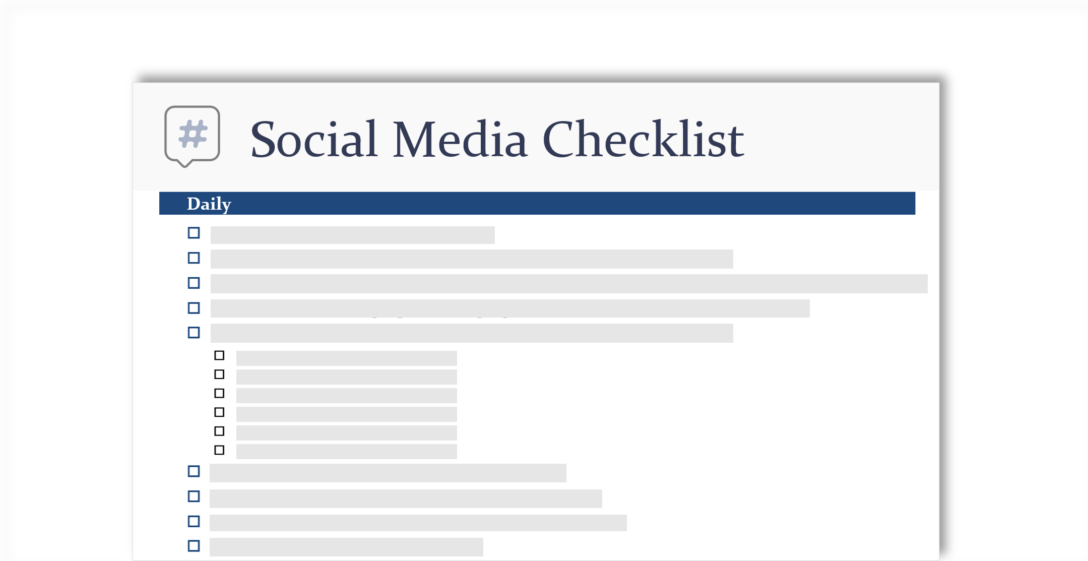 Imagen conceptual de una lista de comprobación de redes sociales