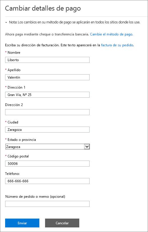 Captura de pantalla del panel Cambiar detalles de pago.