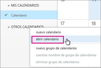 Menú Abrir calendario de Outlook Online