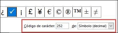 El campo de indica que se trata de un símbolo ASCII