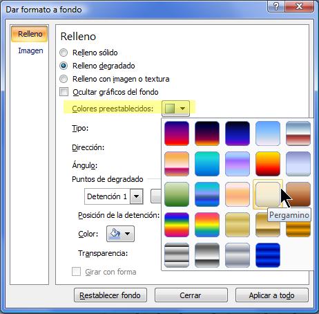 Para usar un degradado preestablecido, seleccione Colores preestablecidos y, a continuación, seleccione una opción.