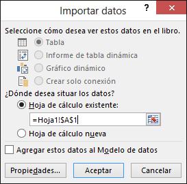 En el cuadro de diálogo Importar datos, elija colocar los datos en una hoja de cálculo existente (la configuración predeterminada) o en una nueva hoja de cálculo.