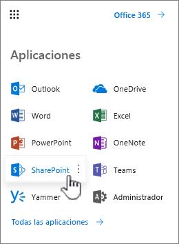 Lista de aplicaciones de Office 365 desde el botón de iniciador de aplicaciones