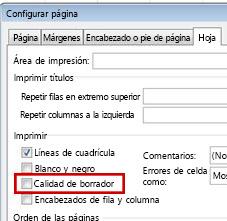 Pestaña Hoja en el cuadro de diálogo Configurar página