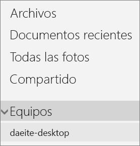 Panel de navegación izquierdo del portal de OneDrive que muestra el menú Equipos expandido