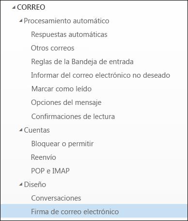 Firma de correo electrónico de Outlook en la web