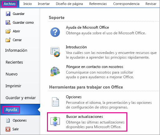 Buscando actualizaciones para Office de forma manual en Word 2010