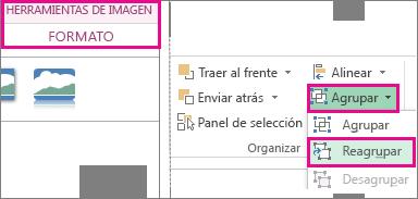 Botón Reagrupar en la ficha Formato en Herramientas de imagen