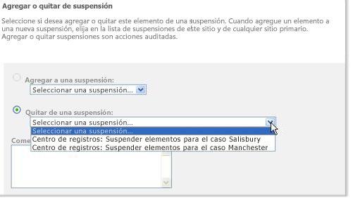 Suspensiones asociadas a un registro