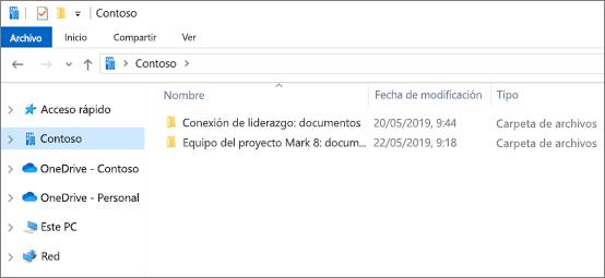 Captura de pantalla que muestra carpetas de sincronización para OneDrive y sitios.