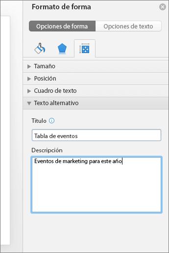 Captura de pantalla del panel Formato de forma con los cuadros de texto alternativo que describe la tabla seleccionada