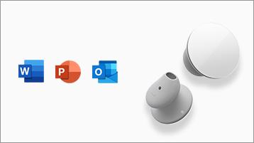 Surface Earbuds con las aplicaciones de Office