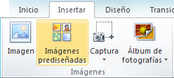 El comando de imágenes prediseñadas en la ficha Insertar de la cinta de PowerPoint 2010