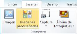 Comando de imágenes prediseñadas en la pestaña Insertar de la cinta de PowerPoint 2010