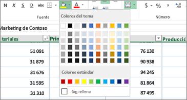 Hoja de cálculo en el fondo y paleta de color en primer plano