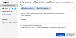 Enviar por correo electrónico un vínculo a una presentación