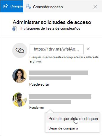 Captura de pantalla de la sección Uso compartido del panel de detalles de un archivo compartido.