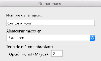 Formulario Grabar macros en Excel para Mac