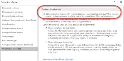 El cuadro de diálogo Opciones de privacidad, en el que se muestra dónde habilitar o deshabilitar los servicios en la nube de Office.