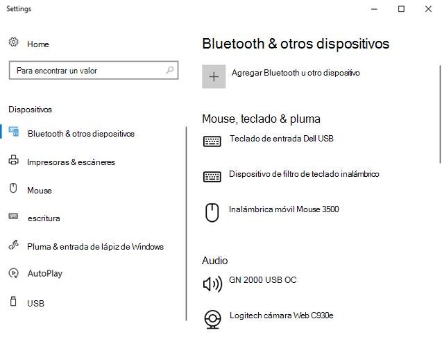 Bluetooth y otras opciones de configuración de dispositivo