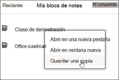 """Haga clic con el botón secundario en el Bloc de notas de clase, haga clic en """"guardar una copia"""""""