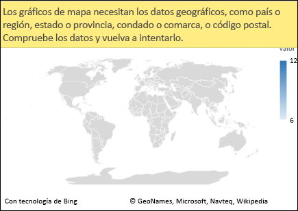 Gráfico de mapa de Excel con datos ambiguos