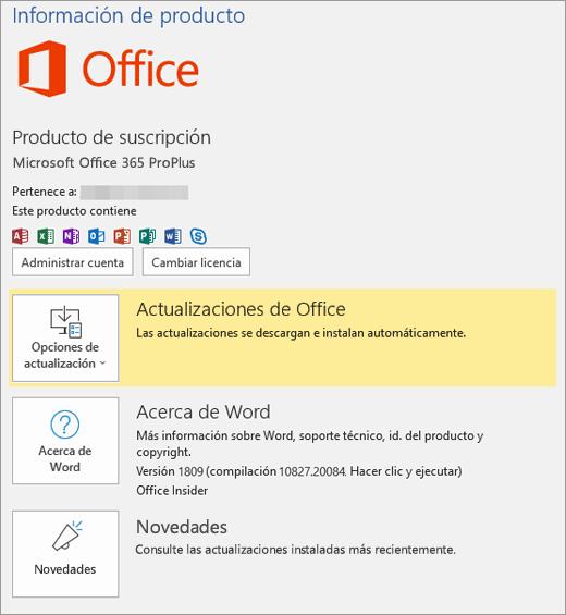 Muestra la vista Backstage de Office 365