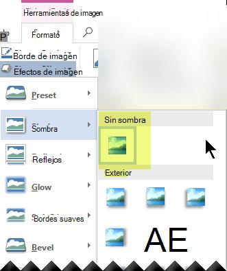 Para desactivar un efecto de imagen que no desee, elija la opción sin efecto.