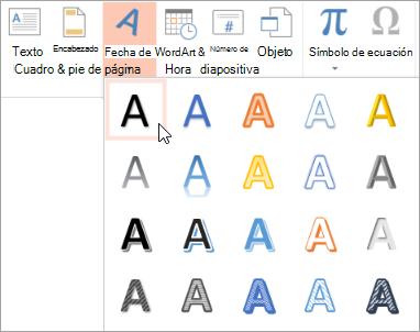 Elegir un estilo de WordArt en la ficha Insertar