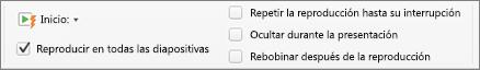Opción de audio para reproducir música de forma continua en todas las diapositivas