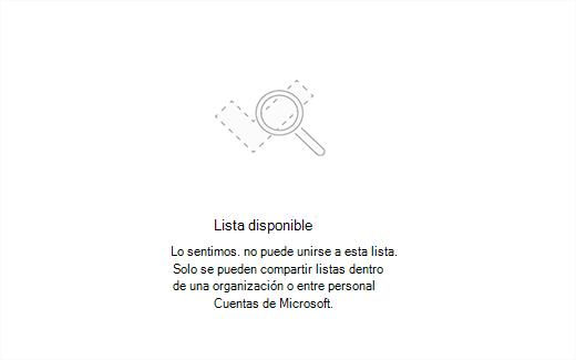 Captura de pantalla que muestra el mensaje de error lista disponible