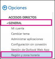 En General, haga clic en Región y zona horaria